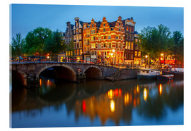 Cuadro de metacrilato  Night city view of Amsterdam