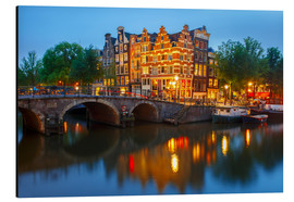 Cuadro de aluminio  Night city view of Amsterdam