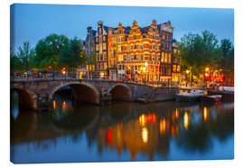 Lienzo  Night city view of Amsterdam