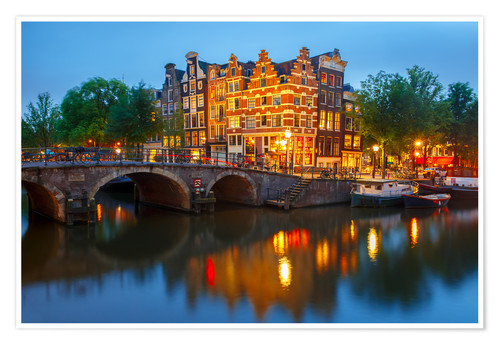 Póster Night city view of Amsterdam