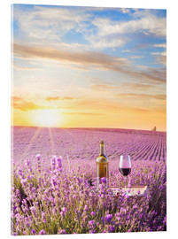 Bottle of wine in lavender field