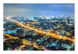 Póster  Bangkok downtown Skyline at night