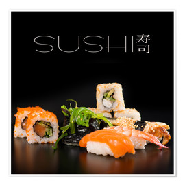 Póster Sushi on black