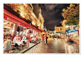 Póster  Montmartre streets at night