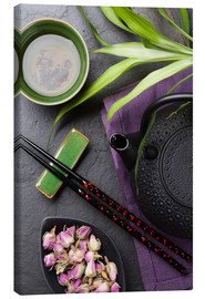 Lienzo  Asian sushi chopsticks, tea and teapot
