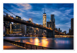 Póster New York City - beautiful sunrise over manhattan