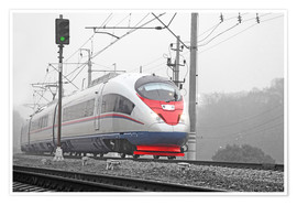 Póster  High-speed train in the fog