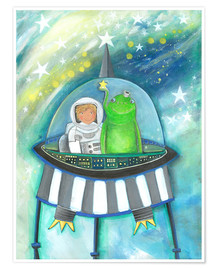 Póster The little astronaut and his friend in the spaceship
