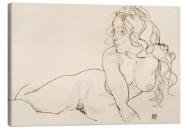Lienzo  Resting himself Female act with long hair - Egon Schiele