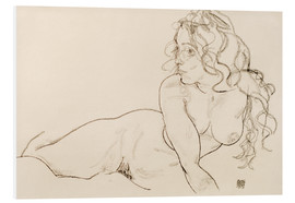 Forex  Resting himself Female act with long hair - Egon Schiele