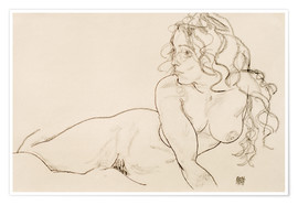 Póster  Resting himself Female act with long hair - Egon Schiele