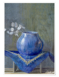 Póster Still Life with Lunaria in Blue Vase