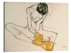 Aluminio-Dibond  Seated with yellow cloth - Egon Schiele