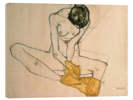 Madera  Seated with yellow cloth - Egon Schiele