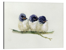Aluminio-Dibond  3 little swallows - Verbrugge Watercolor