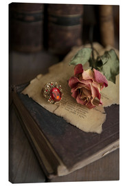 Lienzo  Old books, ring, letters and dry rose - Jaroslaw Blaminsky