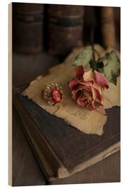 Cuadro de madera  Old books, ring, letters and dry rose - Jaroslaw Blaminsky