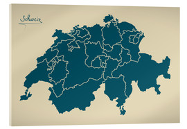 Cuadro de metacrilato  Switzerland Modern Map Artwork Design - Ingo Menhard