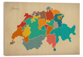 Cuadro de madera  Switzerland Modern Map Artwork Design - Ingo Menhard