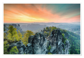 Póster  Bastion Saxon Switzerland Sunrise - Michael Valjak