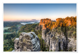 Póster  Saxon Switzerland in the morning - Michael Valjak