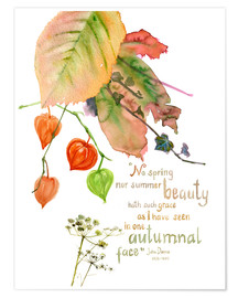 Póster  Autumn Quote John Donna - Verbrugge Watercolor