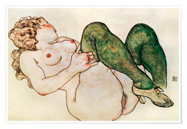 Póster  Nude with green stockings - Egon Schiele