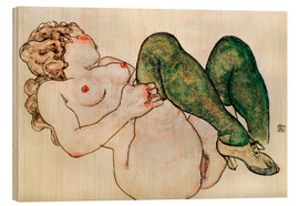 Madera  Nude with green stockings - Egon Schiele
