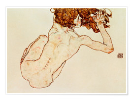 Póster  Crouching nude, back view - Egon Schiele
