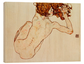 Madera  Crouching nude, back view - Egon Schiele