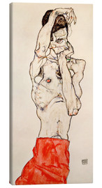 Lienzo  Male nude, standing, with red loincloth - Egon Schiele