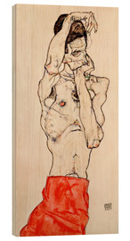 Madera  Male nude, standing, with red loincloth - Egon Schiele