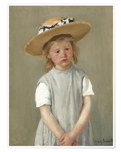 Póster Child in a Straw Hat
