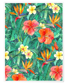 Póster  classic tropical garden watercolor pattern - Micklyn Le Feuvre