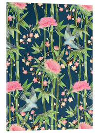 Cuadro de metacrilato  bamboo birds and blossoms on teal - Micklyn Le Feuvre