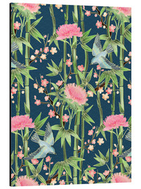 Cuadro de aluminio  bamboo birds and blossoms on teal - Micklyn Le Feuvre