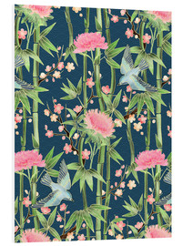 Forex  bamboo birds and blossoms on teal - Micklyn Le Feuvre