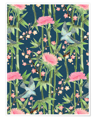 Póster bamboo birds and blossoms on teal