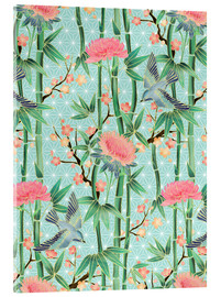 Cuadro de metacrilato  bamboo birds and blossoms on mint - Micklyn Le Feuvre