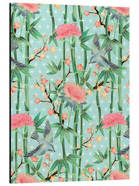 Cuadro de aluminio  bamboo birds and blossoms on mint - Micklyn Le Feuvre