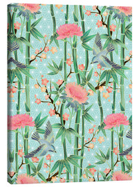 Lienzo  bamboo birds and blossoms on mint - Micklyn Le Feuvre