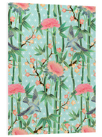 Cuadro de PVC  bamboo birds and blossoms on mint - Micklyn Le Feuvre