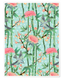 Póster  bamboo birds and blossoms on mint - Micklyn Le Feuvre