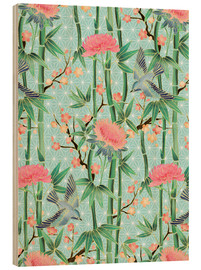 Cuadro de madera  bamboo birds and blossoms on mint - Micklyn Le Feuvre