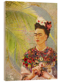 Madera  Frida Kahlo con cervatillo - Moon Berry Prints