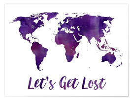 Póster World map purple
