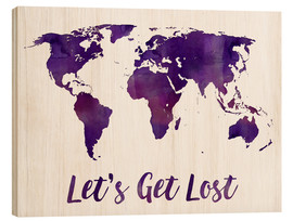Cuadro de madera  World map purple - Mod Pop Deco