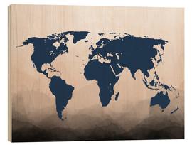 Cuadro de madera  World Map Navy - Mod Pop Deco