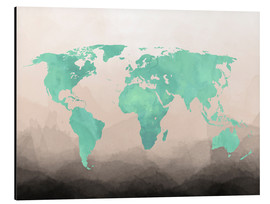 Cuadro de aluminio  Mint Watercolor Map - Mod Pop Deco