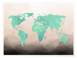 Póster  Mint Watercolor Map - Mod Pop Deco